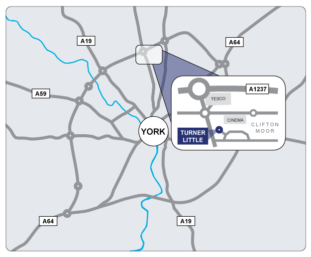 Map showing the location of the Turner Little office within the City of York.